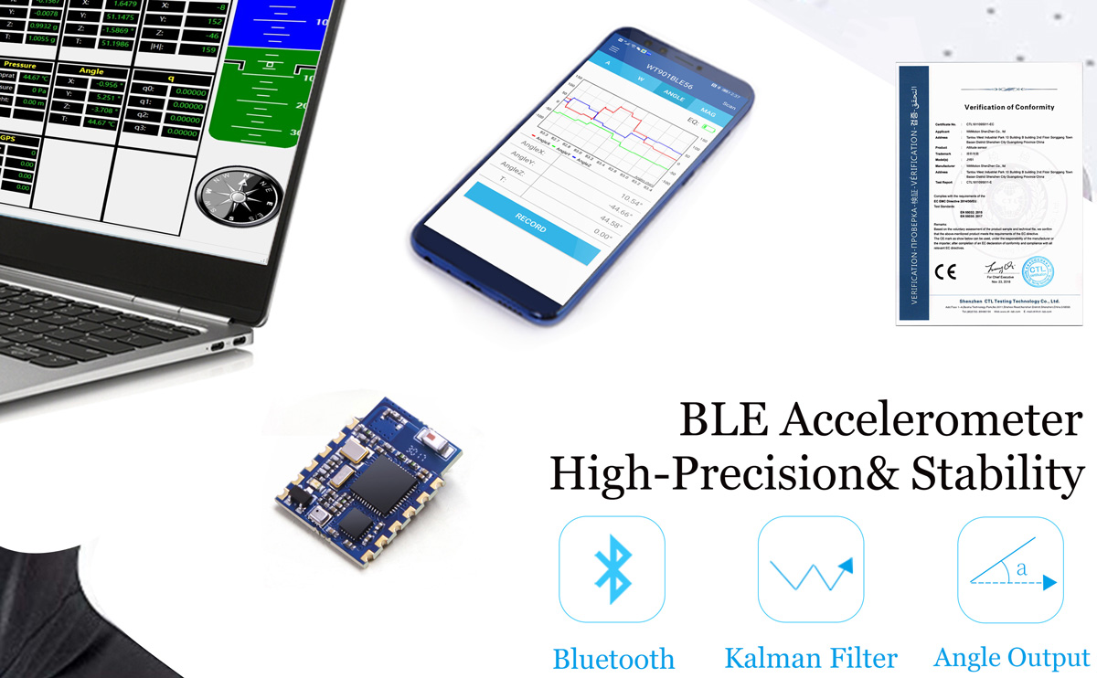 WT901BLE MPU9250 High-Precision 9-axis Gyroscope Angle(0.05° Accuracy) Magnetometer with Kalman Filtering, 50Hz Low-Power 3-axis AHRS IMU Sensor for Arduino