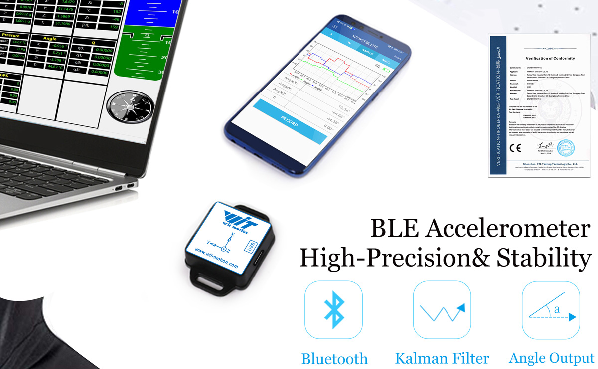 WitMotion Bluetooth BLE 5.0 9 Axis Low-consumption Sensor WT901BLECL Angle   Acceleration   Gyro   Mag MPU9250 on PC/Android