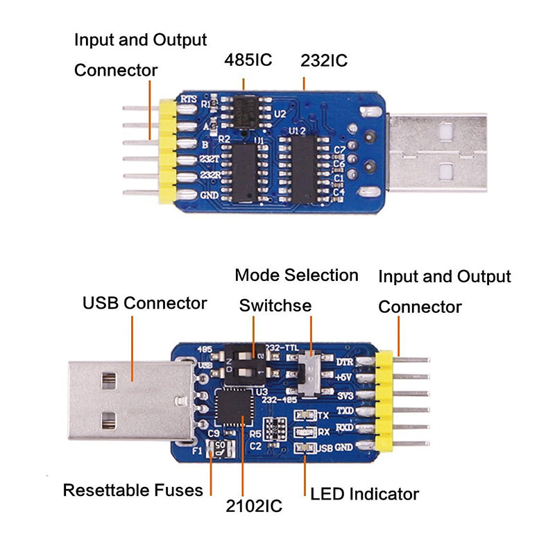 WitMotion UART Convert USB to TTL RS485 RS232 and TTL to RS232 RS485 and RS232 to RS485 CP2102 3.3 & 5v input Serial Converter