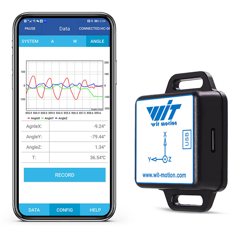 WitMotion Bluetooth 2.0 BWT61CL 6 Axis Sensor AHRS IMU MPU6050 Digital Tilt Angle + Accelerometer + Gyroscope on PC/Android/MCU