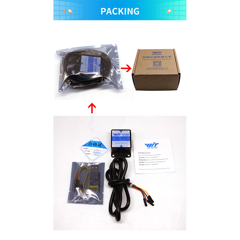 WitMotion HWT901B TTL 10 Axis Sensor Angle Inclinometer + Accelerometer + Gyro + Magnetometer RM3100 + Barometer For PC/Android/MCU