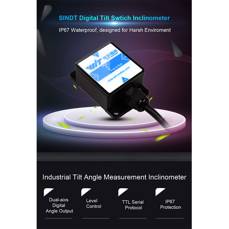 WitMotion SINDT TTL IMU 2 Axis Sensor Digital Tilt Angle Inclinometer (Roll Pitch)&IP67 Waterproof& Anti-vibration on Android/PC/MCU