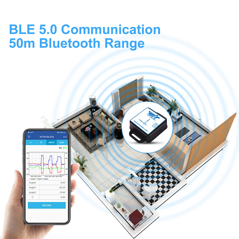 WitMotion Bluetooth BLE 5.0 9 Axis WT901BLE Low-consumption 50m Angle Acceleration Gyroscope Magnetometer MPU9250 For PC/Android